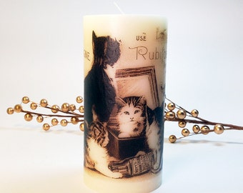 Vintage Advertising Cat Candle; Cat Lover Gift; Cat Candles; Crazy Cat Lady; Cat Decor; Cat Drawing; Cat Kitchen; Housecat Decorative Candle