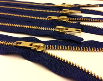 12 inch metal zippers, gold teeth, FIVE pcs, navy, YKK color 919, perfect for purses, jewelry and accessory making, brass zippers, navy tape