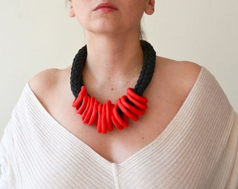 Red necklace, chunky red necklace, red gift for her, Valentines gift, statement necklace, red statement necklace, ethnic necklace, bib jewel