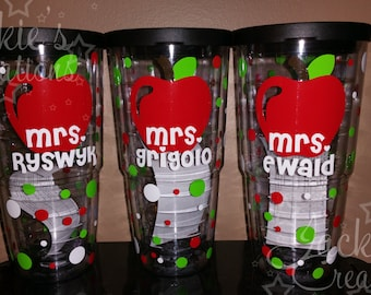 Personalized Teacher Gift-Double-Wall Insulated Travel Tumbler Cup with Apple-Teacher Tumbler
