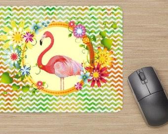 tapis de souris, flamant rose, flamingo, home déco, bureau, idée cadeau, pour lui, pour elle