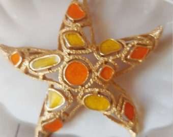 Vintage Florenza Star Brooch   Gold/Orange/Yellow Pin