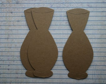 3 Vase Bare chipboard die cuts diecuts