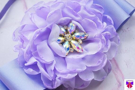 Pretty Lilac Flower and Ribbon Headband - Baby / Toddler, Girls, Kids Hairband / Hair bow / newborn photo/ birthday / wedding