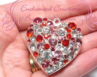 "2"" Silver Metal Multicolor Rhinestone Heart Hollow Pendant, Red, Pink, Clear, Keychain, Bookmark, Zipper Pull, Planner Charm, Purse Charm"