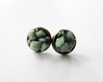 Raw Emerald Cluster Stud Earrings