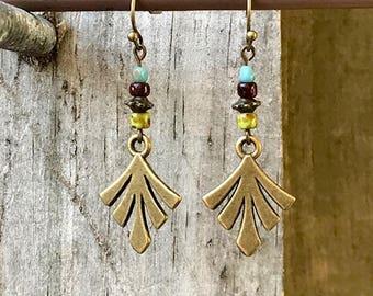 Bronze Earrings, Feather Earrings, Fan Earrings, Turquoise Earrings, Boho Earrings, Rustic Earrings, Ethnic Earrings, Earthy Earrings