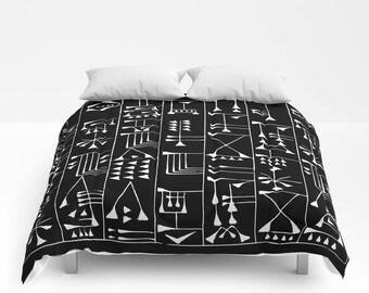 Black & White Duvet Cover, Bohemian Comforter, Full Queen King Duvet, Tribal Pattern, Tribal Print Bed Cover, Boho Bedding, Boho Home Decor