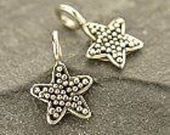 Sterling Silver Star Charm with Granulation