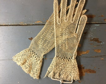 Romantic 1920's Hand Crocheted Lace Gloves with Wrist Ruffle