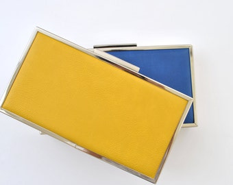 LEATHER box clutch - 8.5x4.5 inches - Yellow / Blue