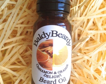 Cinnamon and Orange Delight beard oil - a conditioning oil, hydrates and moisturises beards for healthy growth, fruity scent, BaldyBeardy