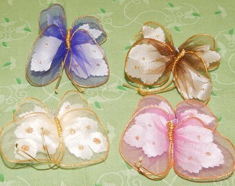 4 Small Tulle Butterfly Picks with millinery leaves in Wings Wired wings Supplies Wreath, Hat,
