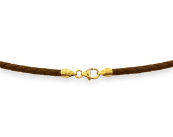 """2mm Brown Braided Bolo Leather Cord Necklace 14"""" inches - 36"""" inches with 14K Gold Filled Clasp, You choose length. LCB0200BRNG"""