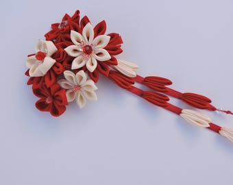 Red Kanzashi Fabric Flower hair clip with falls. Red and beige fabric flower. Japanese hair clip.