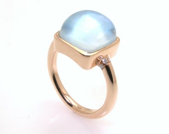 Blue Topaz / Mother of pearl Ring.