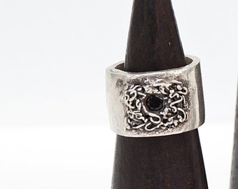 SALE-MEN'S- One Of a Kind-Fine Silver PMC3 999 Ring with Black Spinel-SIZE 9.5