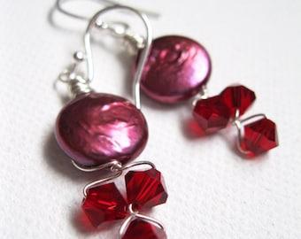 Red Pearl Earrings. Swarovski Crystal & Freshwater Pearl Earrings. Cranberry Earrings. Coin Pearl Earrings. UK Seller.