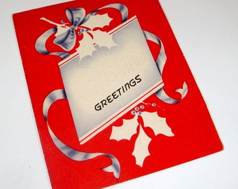 Vintage Christmas Greeting Card, Embossed, Mid Century Paper Ephemera, Old Holiday Card, Red, 1940's   (2418)