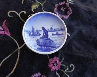 "Vintage 3""  Danish Mermaid Dish - Langeline- Mini Dish - Butter Pat Dish - Collectable dish"