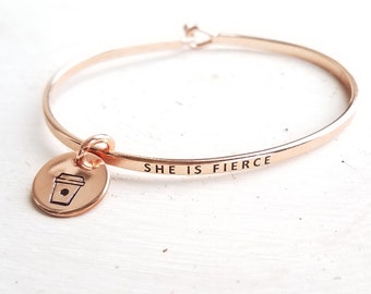 Personalized Charm Inspirational Skinny Bangle | She is Fierce Minimalist Mantra Bangle | Quote Stacking Bangles | Gift for Her Under 15