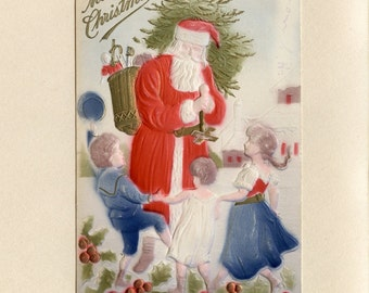 Vintage Christmas Postcard Santa Claus in Red Suit with Tree and Basket of Toys Children Dancing by Samuel Langsdorf  Embossed Used - 6715Pe