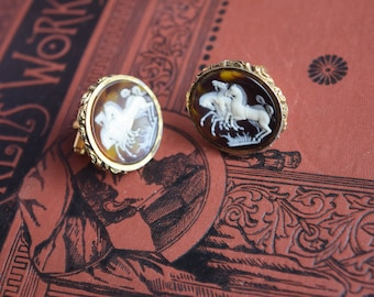 Vintage Horses Cuff Links, Retro Dante Gold Cameo Cufflinks Chunky Lush Links for Him or Her