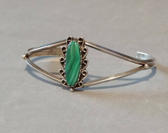 Vintage Malachite Cuff Bracelet Sterling Silver Native American Green Stone Southwest Jewelry