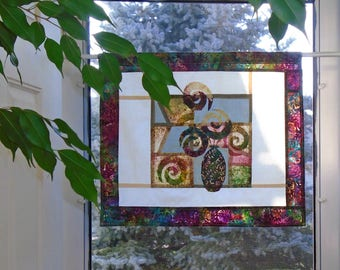 Still Life with Roses~ Bleached & Distressed Stained Glass Look Fabric Pojagi Window Treatment~ dorm, cafe curtain / boho watercolor curtain