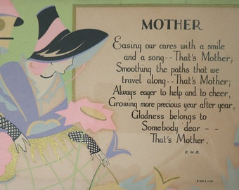 1929 Framed Mother Poem with a Lovely Illustration of a Woman in the Garden, Flowers, Birdhouse, Mother's Day Gift