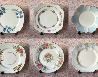 Mismatched Tea Plate Set of 6 Pinks & Blues 40s/50s