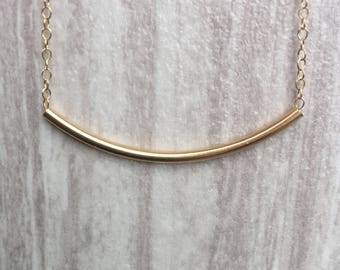 dainty tube etsy necklace minimal market il gold jewelry