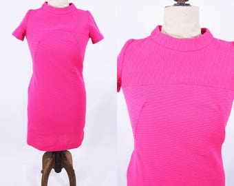 1970s babydoll dress | hot pink short sleeve dress | vintage 70s dress | W 36""