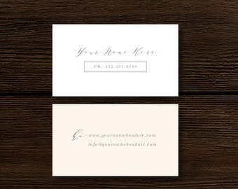 SALE! Business Card Templates for Photographers - Modern Calligraphy Style Calling Card Design - Digital Photoshop Templates