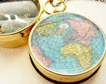 World Map compass Necklace, compass pendant, globe pendant necklace, custom travel adventurer globe trotter Navigation farewell gift