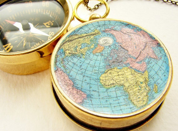 World map compass necklace compass pendant globe pendant gumiabroncs Gallery