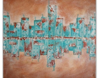 Acrylic Abstract Cityscape. Original Art. 30cm x 30cm. Ready to hang.