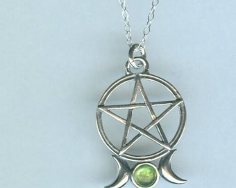 Sterling TRIPLE MOON PENTACLE Pendant with Genuine Peridot and Chain