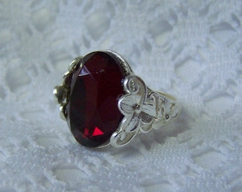 Red Garnet Ruby Red Blood Red Crimson Ring, adjustable Faceted Glass Jewel Ring, Victorian, Silver Lotus Leaf with Czech Glass Stone