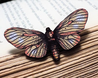 Wooden Moth Brooch