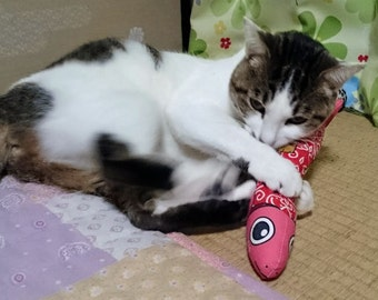 Red Fish Cat Toys, Handmade Cat Toys, Gifts for Cats, Kicker Toy, Kitty Toys, Toys for Cats, Matatabi, Japanese Catnip, Cat Lover Gifts,