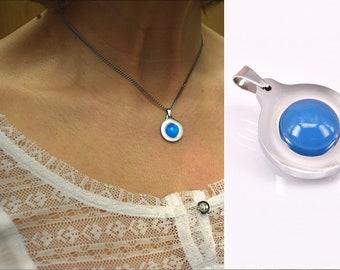 Agate Blue Cabochon Pendant