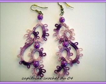 Purple, violet earrings women/earrings/jewelry ceremony/tatting jewelry handmade