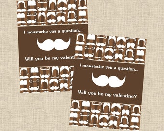 Valentine DIY Printable Fresh & Fun Personalized Moustache Card