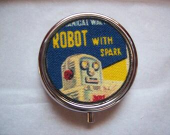 retro robot pill box vintage 1950's tin toy kitsch vitamin case