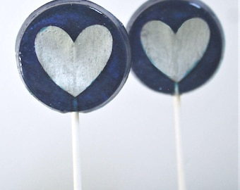 Navy and Silver Party Favor Lollipops, Valentine's Day Party Favors, Valentine's Treats, 6 Edible Image Favors. Wedding Favor Lollipops