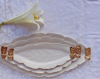 Hand Carved Nesting Trays with gold (set of 3)