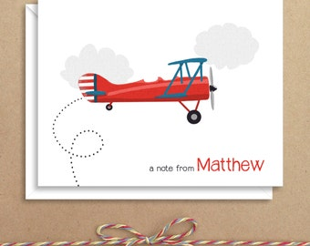 Plane Note Cards - Folded Note Cards - Personalized Children's Stationery - Thank You Notes - Illustrated Note Cards