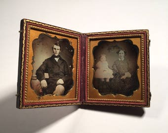 Double Daguerreotype of a Handsome Young Family, 19th Century Antique Photo in Full Case