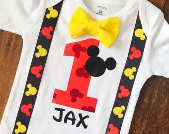 personalized birthday shirts for boys, first birthday outfit boy, mickey mouse birthday shirt, cake smash outfit boy, clothing gift, disney